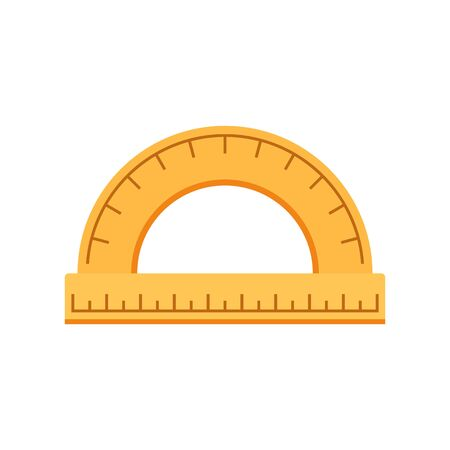 Wood protractor icon, flat style