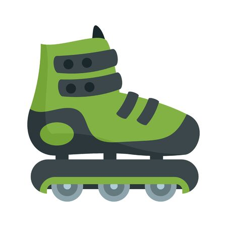 Protected inline skates icon, flat style