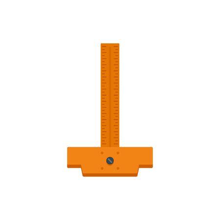 Architect ruler icon, flat style Illustration