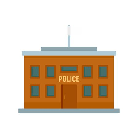 Police building icon, flat style