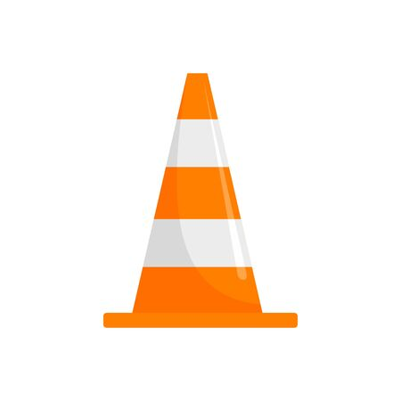 Road cone icon, flat style