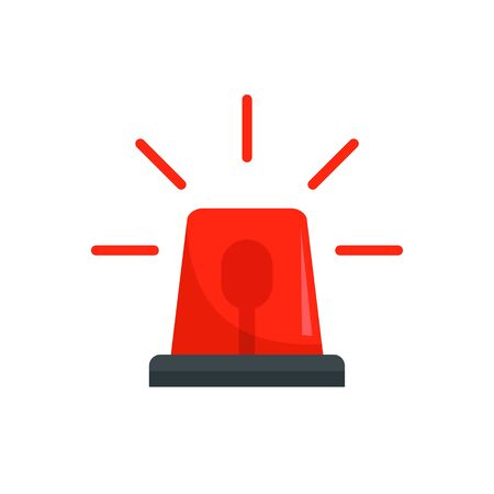 Icône de clignotant de police rouge, style plat Vecteurs