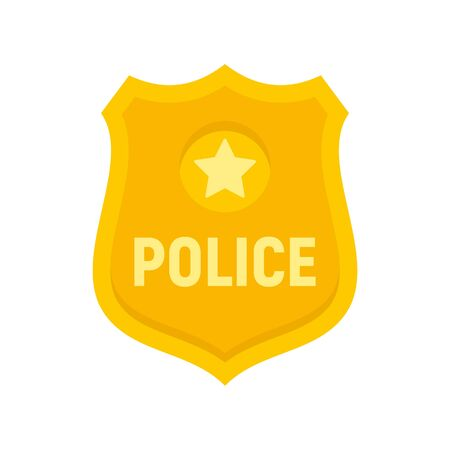 Police gold emblem icon, flat style Illustration