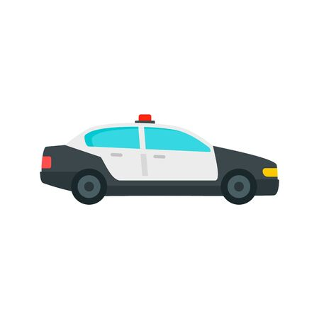 Police patrol car icon, flat style
