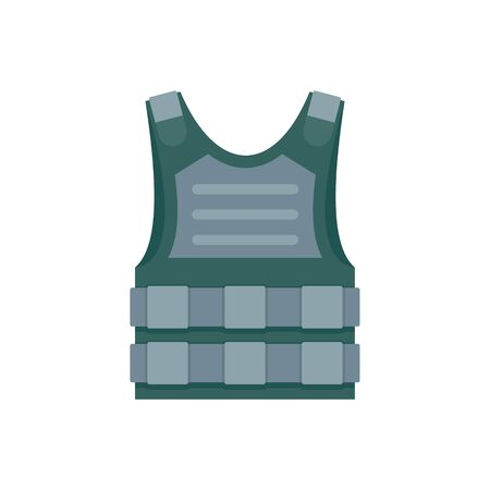 Bulletproof vest icon. Flat illustration of bulletproof vest vector icon for web design