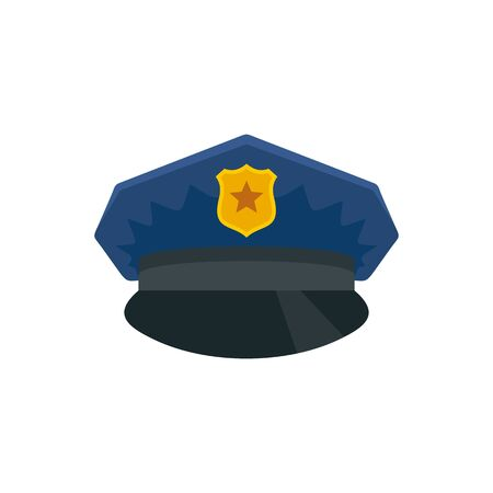 Police cap icon. Flat illustration of police cap vector icon for web design