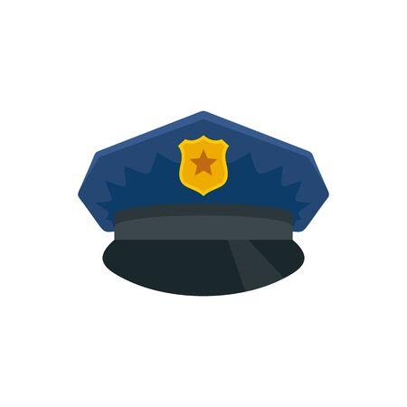 Police cap icon. Flat illustration of police cap vector icon for web design Foto de archivo - 131327531