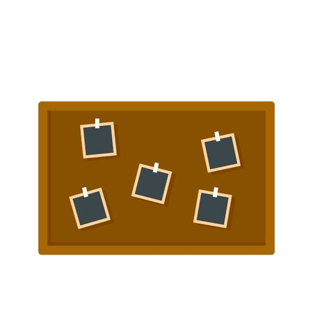 Photo detective board icon. Flat illustration of photo detective board vector icon for web design