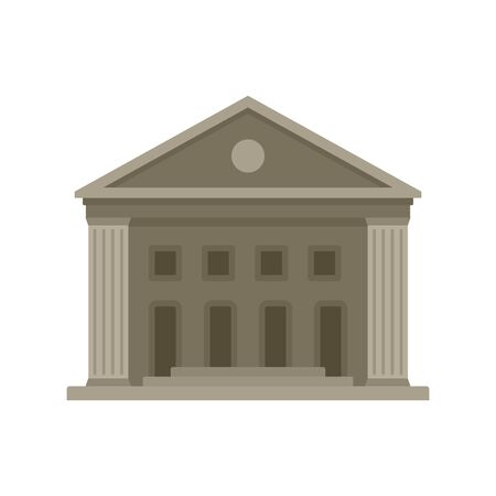 Old courthouse icon. Flat illustration of old courthouse vector icon for web design