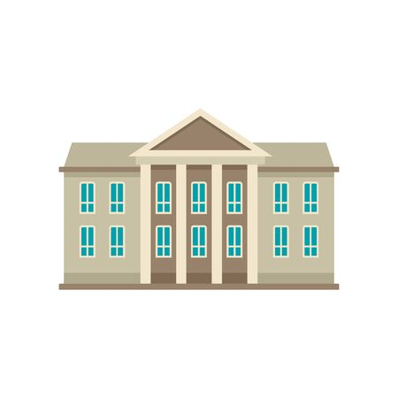 Classic courthouse icon. Flat illustration of classic courthouse vector icon for web design