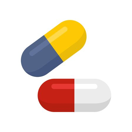 Medical pills icon. Flat illustration of medical pills vector icon for web design