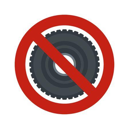 No rubber tire icon. Flat illustration of no rubber tire vector icon for web design Çizim