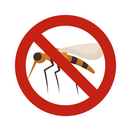 No mosquito sign icon. Flat illustration of no mosquito sign vector icon for web design Banque d'images - 131326985