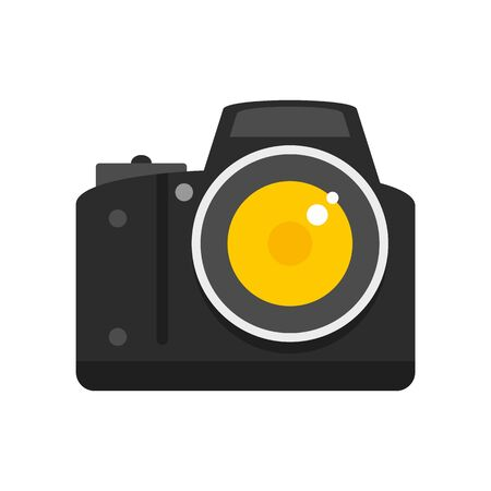 Professional camera icon, flat style