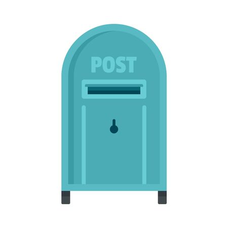 Street post box icon, flat style Çizim