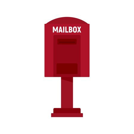 Red street mailbox icon, flat style
