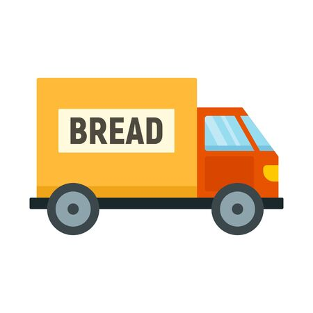 Bread truck delivery icon. Flat illustration of bread truck delivery vector icon for web design Illustration