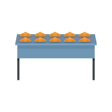 Croissant in bakery factory icon. Flat illustration of croissant in bakery factory vector icon for web design