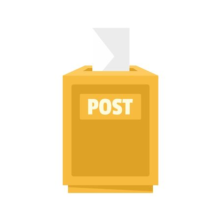 Envelope in post box icon. Flat illustration of envelope in post box icon for web design Illusztráció