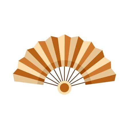 Bamboo hand fan icon, flat style Vettoriali