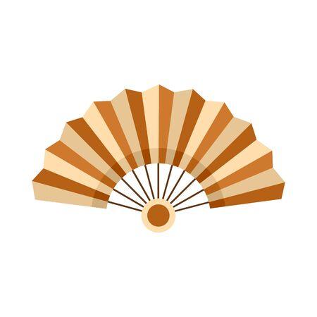 Bamboo hand fan icon, flat style Illustration