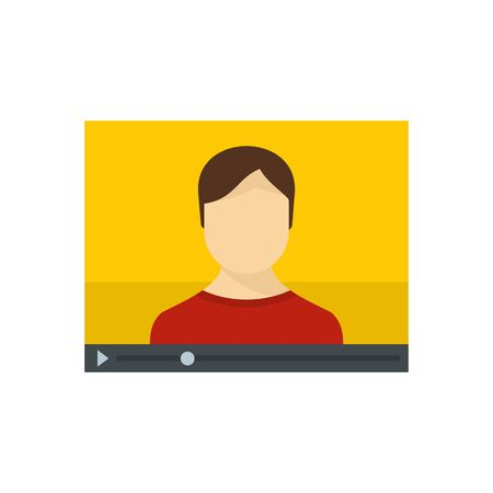 Live online learning icon, flat style