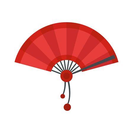 Japan hand fan icon, flat style