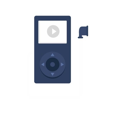 Music player learning icon, flat style  イラスト・ベクター素材
