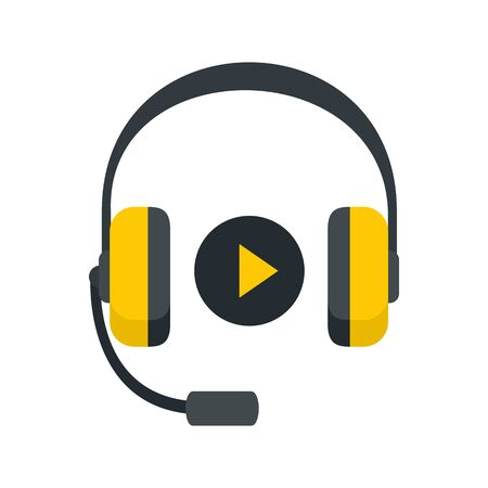 Headphones sound learning icon, flat style Ilustração Vetorial