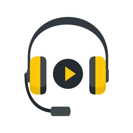 Icône d'apprentissage du son des écouteurs, style plat Vecteurs