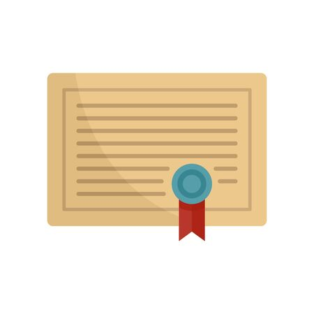 Learning certificate icon, flat style