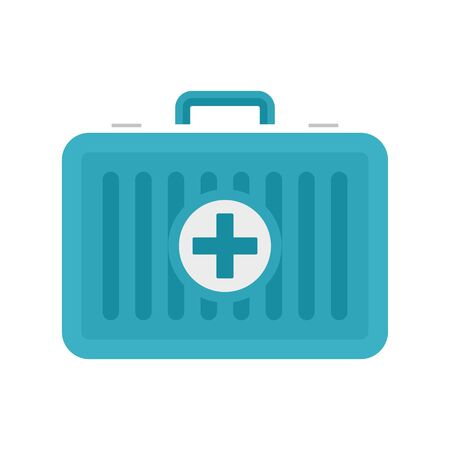 Beach first aid kit icon, flat style