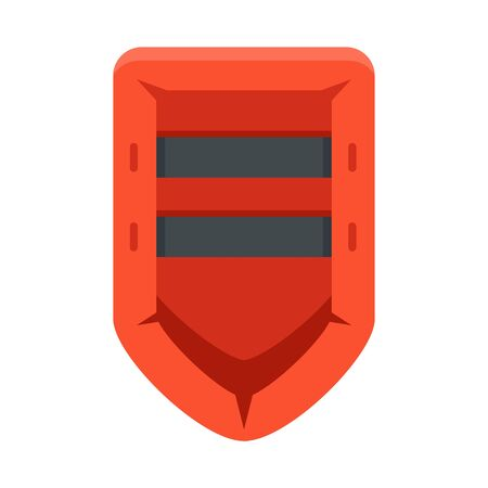 Rescue rubber boat icon, flat style
