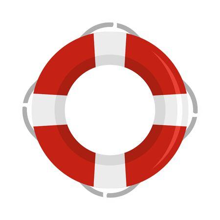 Life buoy ring icon, flat style