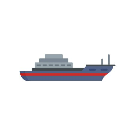 Cargo ship icon, flat style