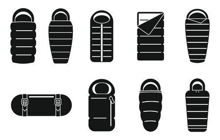 Adventure sleeping bag icons set, simple style Çizim