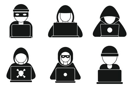 Hacker man icons set, simple style