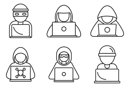 Cyber hacker icons set, outline style Ilustrace