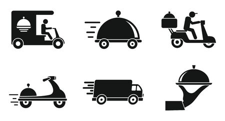 Food delivery service icons set, simple style