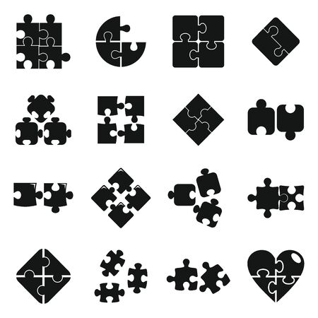 Jigsaw puzzle icons set, simple style Vetores
