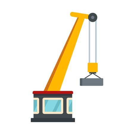 Port crane icon. Flat illustration of port crane vector icon for web design Stock Illustratie