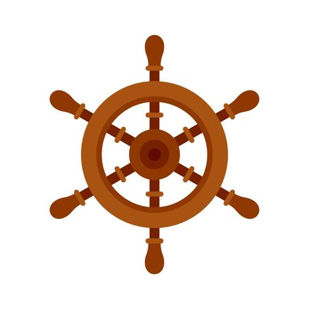 Ship steering wheel icon. Flat illustration of ship steering wheel vector icon for web design
