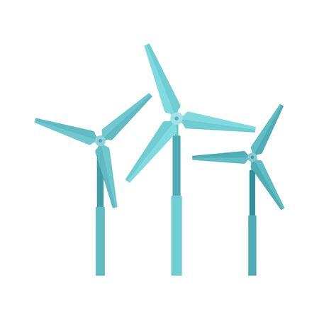 Wind turbine farm icon. Flat illustration of wind turbine farm vector icon for web design