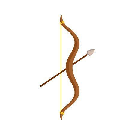 Stone age bow arrow icon. Flat illustration of stone age bow arrow vector icon for web design Ilustração