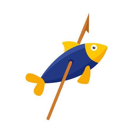 Stone age fish in arrow icon. Flat illustration of stone age fish in arrow vector icon for web design