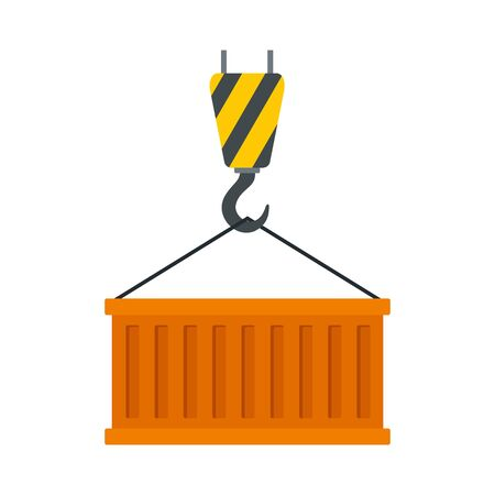 Container on crane hook icon. Flat illustration of container on crane hook vector icon for web design