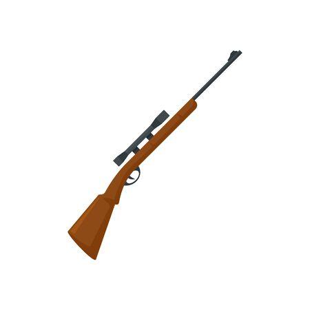 Hunting sniper rifle icon. Flat illustration of hunting sniper rifle vector icon for web design