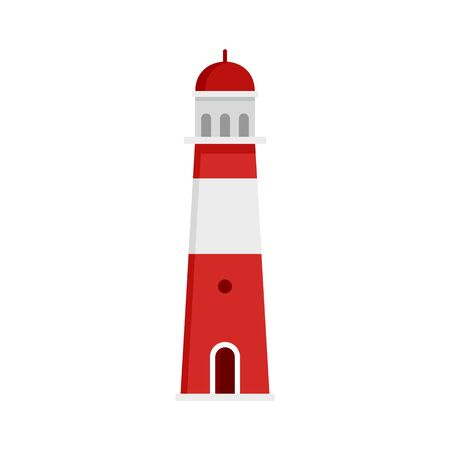 Port lighthouse icon. Flat illustration of port lighthouse vector icon for web design