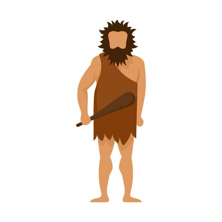 Stone age man icon. Flat illustration of stone age man vector icon for web design Foto de archivo - 131485624