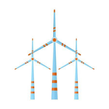 Eco energy wind turbine icon. Flat illustration of eco energy wind turbine vector icon for web design